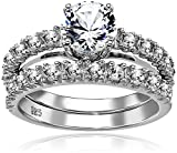 Sterling Silver Created White Sapphire Engagement Ring Set, Size 7