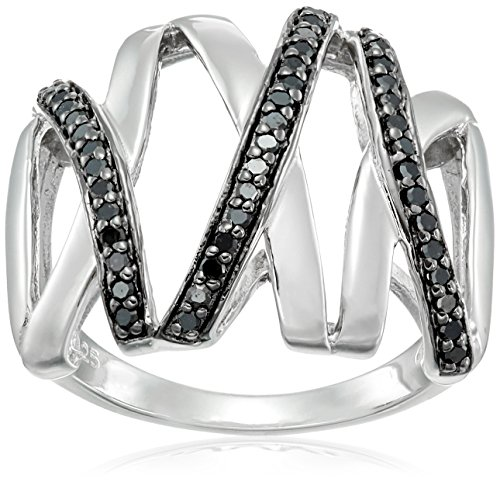 Sterling Silver Black Diamond Two Tone Openwork Ring (1/4 cttw), Size (Two Tone Openwork)