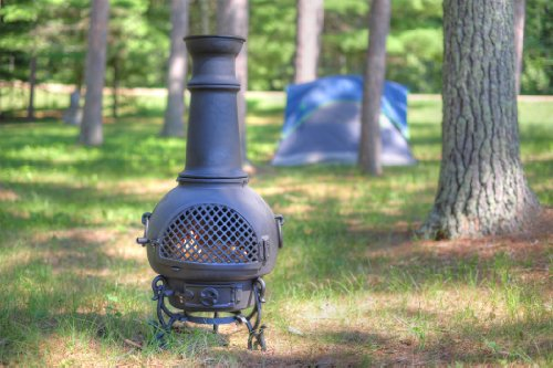The Blue Rooster Co. Gatsby Style Cast Aluminum Wood Burning Chiminea in Charcoal. by The Blue Rooster