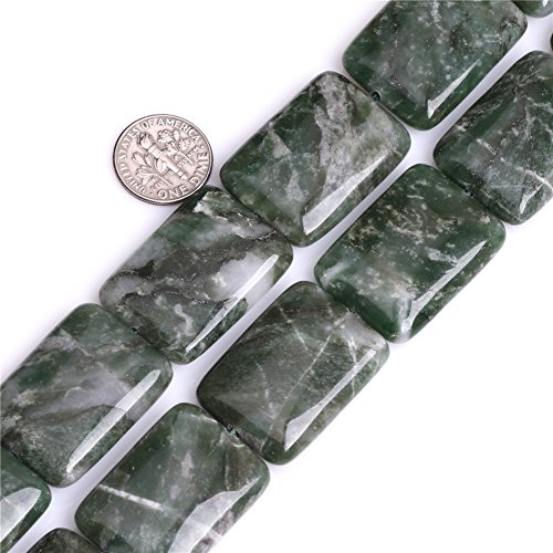 - GEM-inside 22x30mm Rectangle Natural Green African Jade Stone Gemstone Semi Precious Beads for Jewelry Making 15
