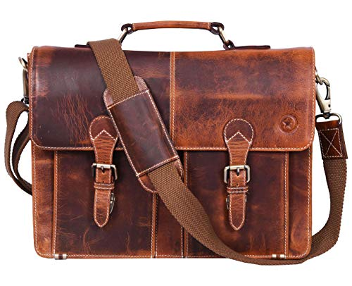 16' Leather Briefcase Messenger Bag for Laptop by Aaron Leather (Brown)