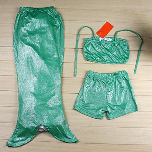 Chinatera 3PCS Lovely Baby Little Girls Kids Swimmable Mermaid Swimwear Tail Princess Bikini Bathing Costume Wear (130, Green)