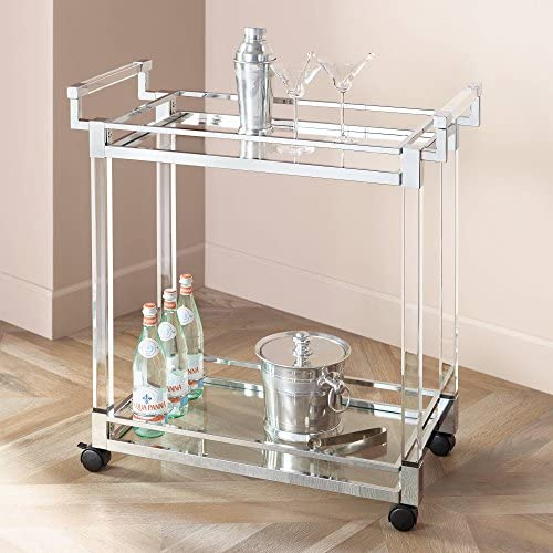 Clear Acrylic Chrome 32 3 4 Wide Rolling Serving Bar Cart – Studio 55D