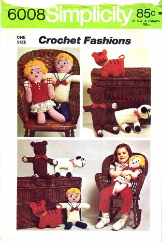 Simplicity 6008 Crochet Pattern Boy Girl Bear Tiger Lamb Dolls