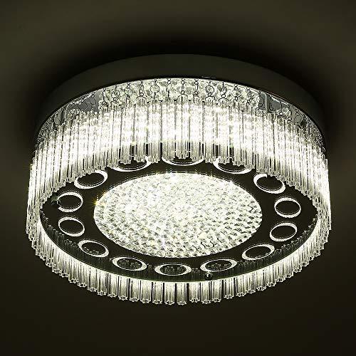 - Horisun LED Flush Mount Ceiling Light Modern Dimmable Ceiling Lamp K9 Crystal 2640LM 4000K Daylight White Polished Chrome Light for Kitchen,Livingroom,Dinning Room,Balcony,Bedroom, ETL Listed