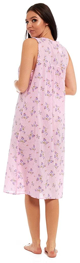 Ladies 100% JERSEY COTTON Nightie Sleeveless Vest Summer Buttoned Floral  Nightdress White Aqua Pale Pink Floral  Amazon.co.uk  Clothing c12ee9a3d