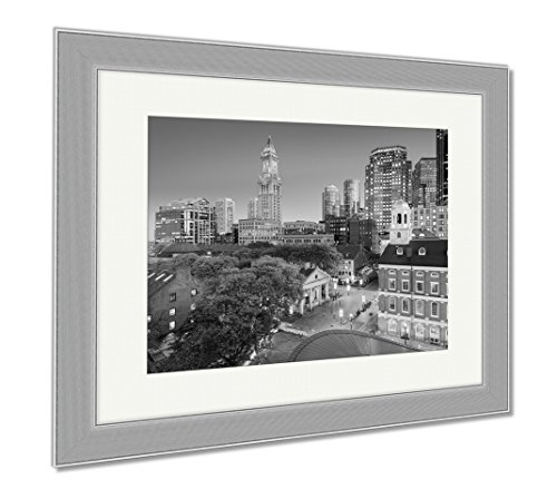Ashley Framed Prints Boston Massachusetts USA Downtown Cityscape, Wall Art Home Decoration, Black/White, 30x35 (frame size), Silver Frame, - Faneuil Hall Location