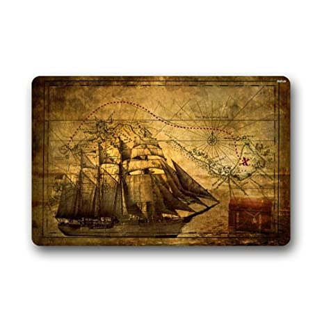 Nautical Vintage Sailing Pirate Ship Theme Non Slip Indoor Or Outdoor Door  Mat Doormat Home