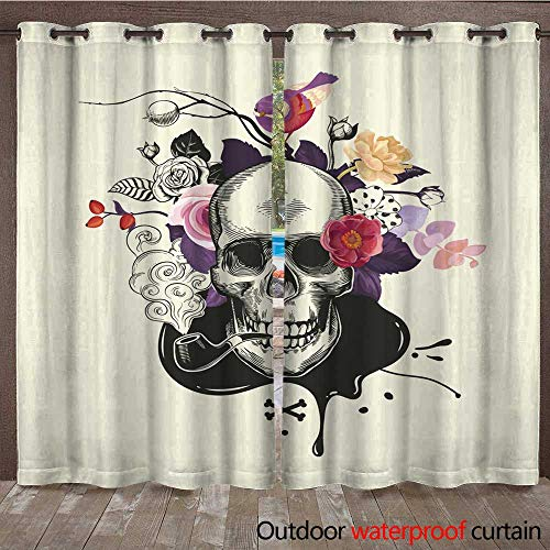 RenteriaDecor Home Patio Outdoor Curtain Human Skull Drawn in Etching Style with Smoking Pipe in Mouth Against Bouquet of Half Colored Roses Crossed Bones and in W84 x L108