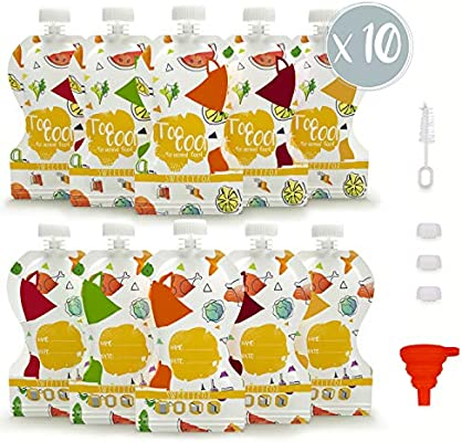 Pack de 10 Bolsas de Comida Reutilizables Sweety Fox - Bolsa para ...