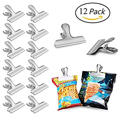 Chip Bag Clips set of 12 - LEYOSOV 3 Inches Wide Stainless Steel Heavy-duty Chip Clips, All-Purpose Air Tight Seal Grip Clips for Kitchen Office