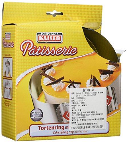 Kaiser 2300769363 Patisserie Tortenring mit Griffen, Edelstahl, 7 cm hoch, einstellbar von 16,5 - 32 cm