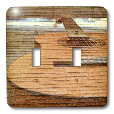 Wood Acoustic Guitar Double light switch cover