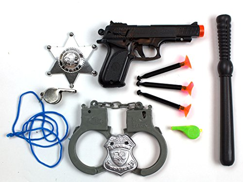 Guy Makes Stick Figure Costume (Police Dress Up Costume Accessories Includes a Toy Gun with 3 Suction Tip Darts, Plastic Handcuffs and Billy Club, 2 Clip On Badges and 2 Whistles (10-Piece Bundle) by Imprints Plus)