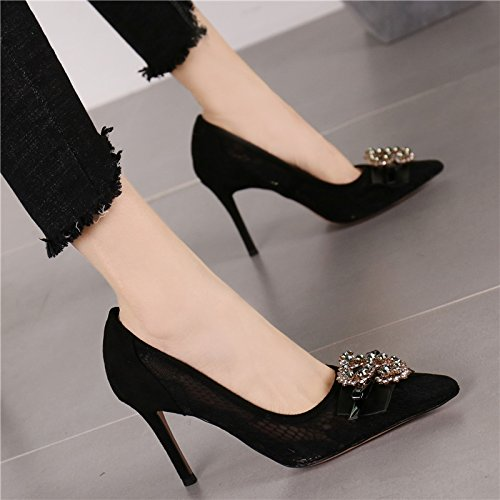 Spring Breathable Work Lady Elegant Heels Diamond Black Shallow 8Cm Temperament Leisure MDRW High Point Mouth With 37 Shoes Fine Mesh Sexy qIfp4