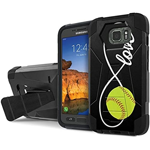 AT&T [Galaxy S7 Active] Combat Case [SlickCandy] [Black/Black] Armor Shell & Impact Resistant [Kick Stand] [Shock Proof] Phone Case - [Love Softball] for Sales