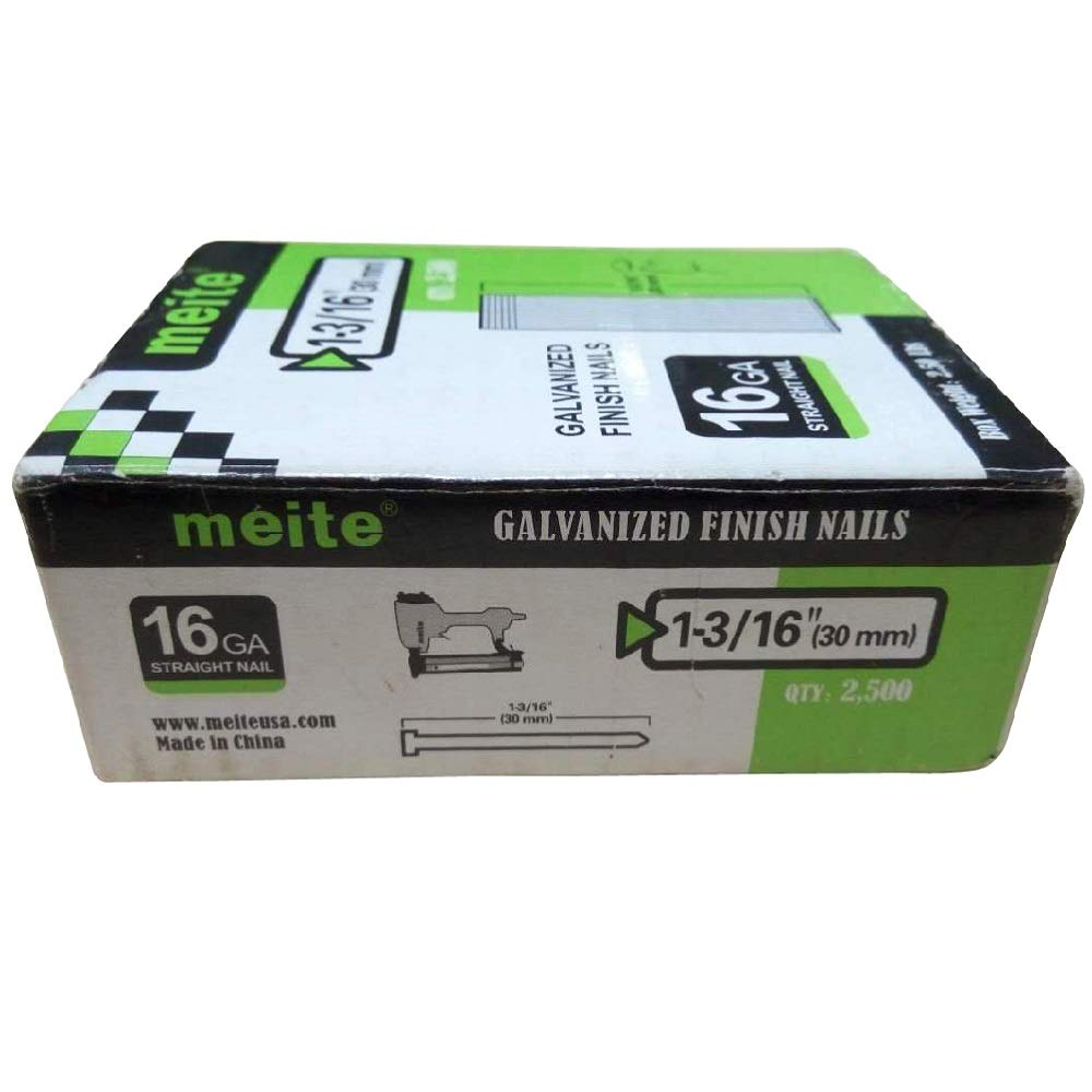 meite 16GT1316L 16 Gauge 1-3/16 Inch Leg Length Galvanized Finish Nail (1 Large Box Pack)