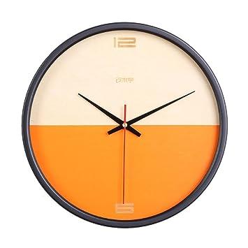 Reloj Pared Madera Digital Reloj, Moderno Sencillo Decoraciones Circular,DXNSPF Mudo Casa Cuarto Reloj Pared , Orange: Amazon.es: Hogar