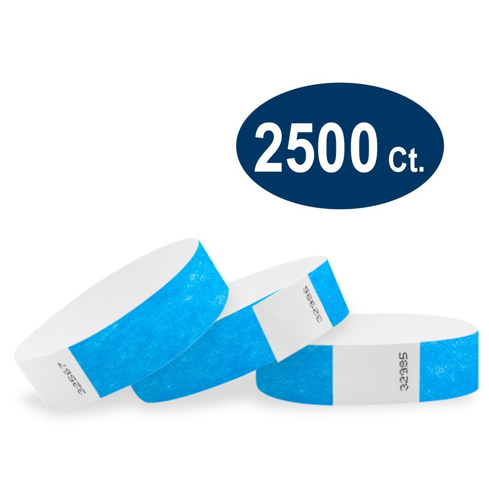 WristCo Neon Blue 3/4'' Tyvek Wristbands - 2500 Pack Paper Wristbands for Events by Wristco
