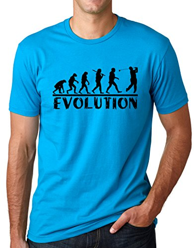 About Golf T-shirt - Golf Evolution Funny T-Shirt Golfer Humor Tee Turquoise XL