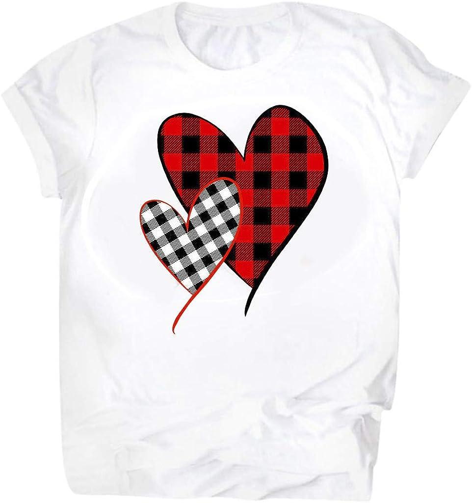 Valentines Day Tshirt for Women,Chaofanjiancai Ladies Short Sleeve Plaid Heart Graphic Shirts Blouse Tops