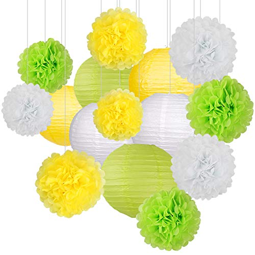 15Pcs Party Pack Paper Lanterns and Flowers Pom Pom Balls Hanging Decoration for Wedding Birthday Baby Shower-Yellow/Green/White ()