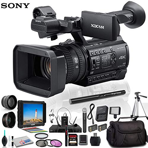 Sony PXW-Z150 4K XDCAM Camcorder (PXW-Z150) with 2 Extra Batteries, Sony Headphones, Padded Case, LED Light, 64GB Memory Card, Tripod, External 4K Monitor, Sennheiser MKE 600 Mic and Much More