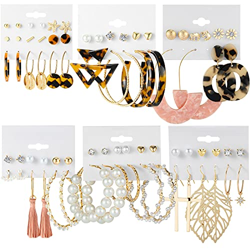 Earrings Set for Women Girls, CHANBO 38 Pairs Fashion Hoop Earrings Set for Women Girls Bohemian Tassel Stud Drop Dangle Earrings for Birthday Party Gift