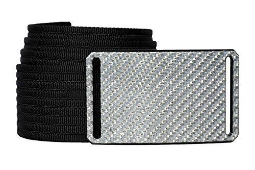 40 Inch Silverglass Carbon Fiber Men's Belt w/Black Strap