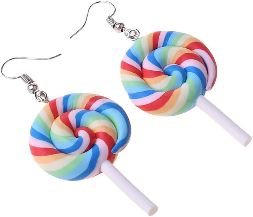 S-TROUBLE Color/é Arc-en-Ciel Sucette Bonbons cr/ème glac/ée balancent Kawaii Boucles doreilles Femmes Bijoux
