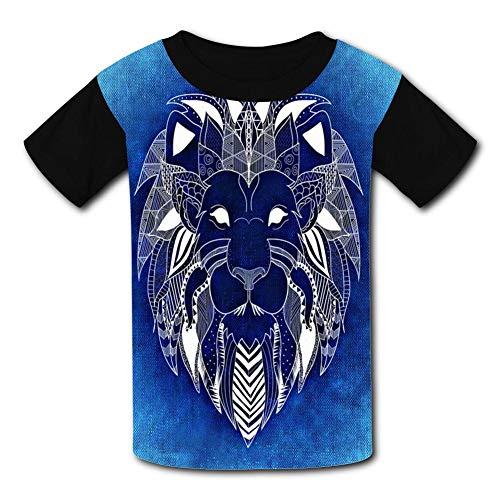 Primitive Portraits - Lion Primitive Portrait Totem Child Short Sleeve Fashion T-Shirt of Boys and Girls XL Black