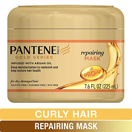 Pantene Repairing Mask Hair Treatment, Butter Crème Hair Treatment, with Argan Oil, Pro-V Gold Series, for Natural and Curly Textured Hair, 7.6 fl oz
