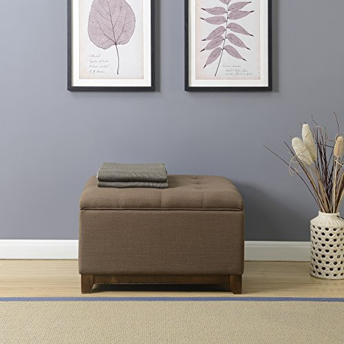 Belleze Large Ottoman Storage Table Upholstered Bench Linen Tufted Footrest Seat Stool, Espresso Brown