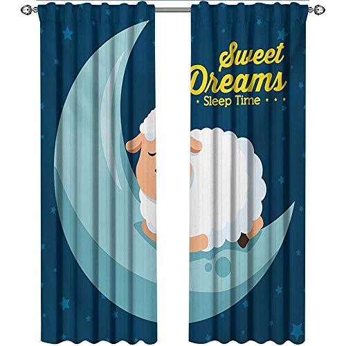 Sweet Dreams, Curtains with Valance, Night Sky Illustration with Sheep Sleeping on The Moon Star Filled Background, Curtains for Girls Bedroom, W72 x L108 Inch, Multicolor