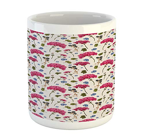 (Lunarable Geranium Mug, Wild Botanical Herbs BlackBerry Harvest Blooming Flora Print, Printed Ceramic Coffee Mug Water Tea Drinks Cup, Olive Green Violet Blue Magenta)