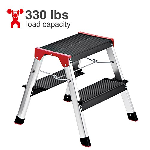Delxo Lightweight Aluminum 2 Step Ladder RV Ladder Step Stool Folding Step Ladder with Anti-Slip Sturdy and Wide Pedal Ladder for Photography,Household and Painting 330lbs Capacity Black 3-Feet ()