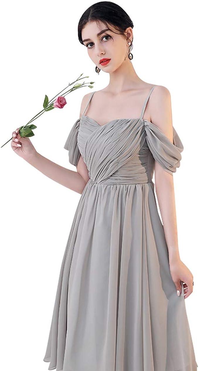 Hochzeit Brautjungfer Kleid Elegantes graues Abendkleid kurz Ailin