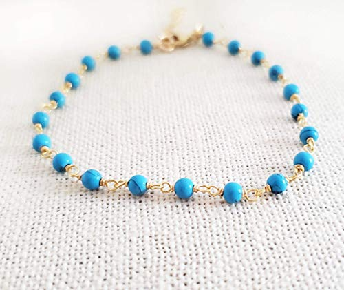 Turquoise Bracelet - Gemstone Jewelry - Wire Wrapped Rosary Chain - 14k Gold Filled - Gift for Her