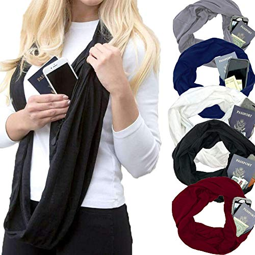 Dragon Honor Womens Pocket Loop Scarf Autumn Winter Warm Solid Infinity Scarves