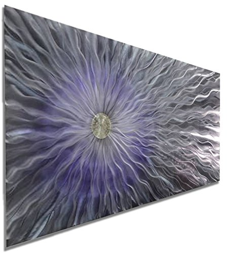 Abstract Silver and Purple Jewel Tone Fusion Large Metal Wall Art