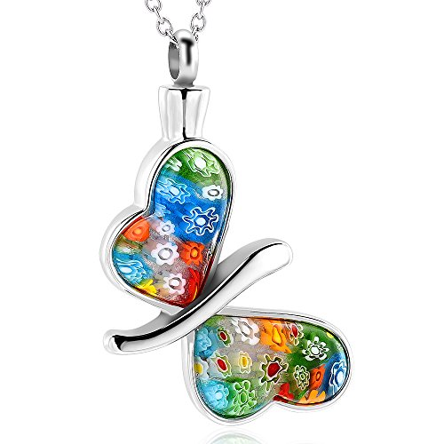 Cremation Jeweley for Ashes - Butterfly Cremation Necklace Colorful Stone Memorial Keepsake Ashes Holder/Locket Cremation Urn Pendant Necklace Stainless Steel Ashes Neckalce for Women/Men