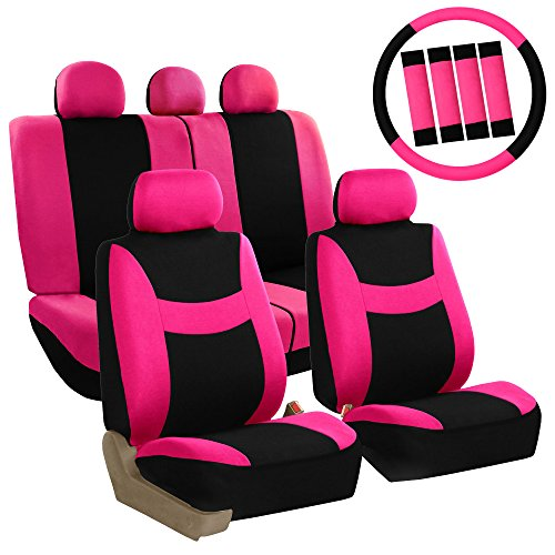 FH GROUP FH-FB030115-COMBO FH GROUP FH Group Light & Breezy Pink/Black Cloth Seat Cover Set Airbag & Split Ready- Fit Most Car, Truck, Suv, or Van (Pink Seat Covers For Cars compare prices)