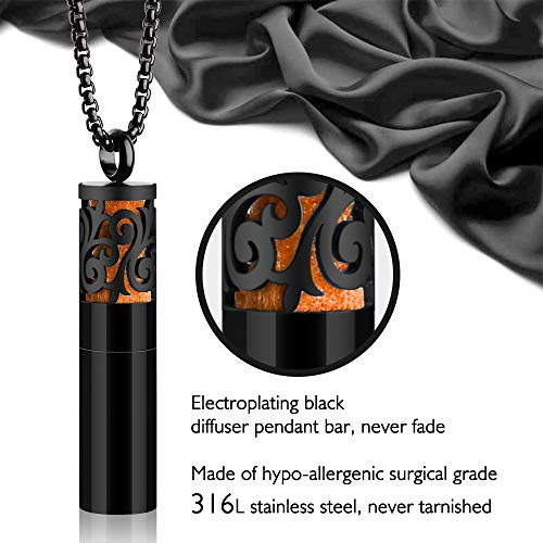 b503533691 ... Essential Oil Container Pendant Necklace Black 316L Stainless Steel  Diffuser Necklace Aromatherapy Locket Jewelry Pearl Chain ...