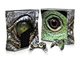Vinyl Decal Protective Sticker Skin for Microsoft Xbox 360 Slim and 2 Controllers Skins-Eye of Lizard
