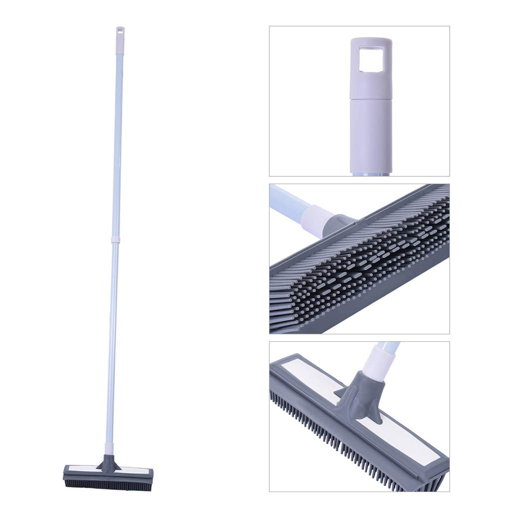 Micozy Floor Scrub Brush with Adjustable Long Handle Plastic TPR Brush Tub and Tile Brush for Cleaning Bathroom Patio Kitchen Wall and Deck by Micozy
