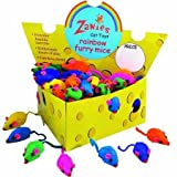 Zanies Cheese Wedge Display Boxes, 60 Rainbow-Fur Mice Toys for Cats