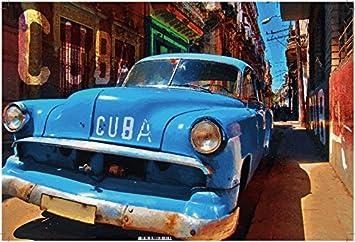 Cuba Blaues Auto Altes Auto Blechschild Amazonde Küche Haushalt