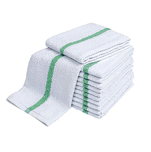 """Atlas Green Stripe Towels Kitchen Bar Mop Cleaning ECONOMY Towels, 12-Pack, 16x19"""", White Cotton Kitchen Towels, Bulk Barmops, for Resaturant & General Cleaning, Shop Towels and Rags, Eco-Friendly"""