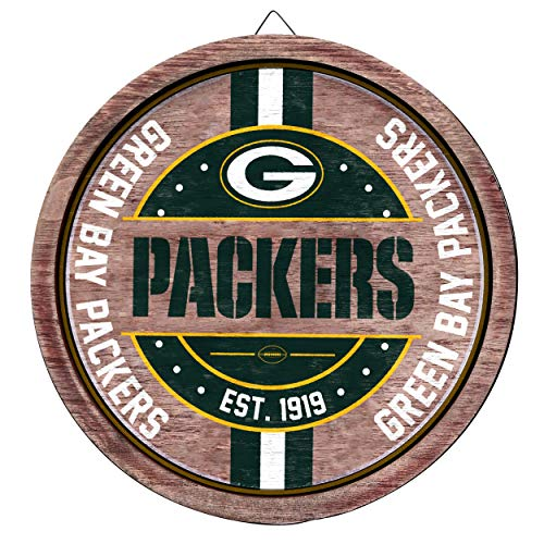 FOCO NFL Team Sign Wooden Barrel Sign in Team Colors (Green Bay Packers)
