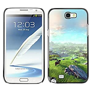 LASTONE PHONE CASE / Carcasa Funda Prima Delgada SLIM Casa Carcasa Funda Case Bandera Cover Armor Shell para Samsung Note 2 N7100 / Landscape View Mountain Horse Riding Art